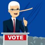 Político grande Lying de la nariz ilustración del vector