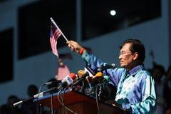 Político malaio Anwar Ibrahim que dá um discurso fotos de stock