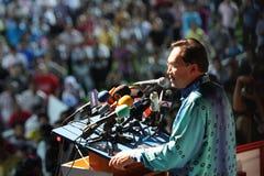 Político malaio Anwar Ibrahim que dá um discurso imagens de stock