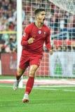 Polônia contra a alegria de Andre Silva do 2:3 de Portugal após ter marcado o objetivo imagens de stock
