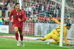 Polônia contra a alegria de Andre Silva do 2:3 de Portugal após ter marcado o objetivo fotografia de stock royalty free