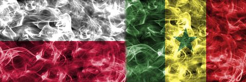 Polônia contra a bandeira do fumo de Senegal, grupo H, campeonato do mundo 2018 do futebol, Foto de Stock