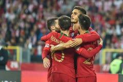 Polônia contra o 2:3 de Portugal Andre Silva R e jogadores de Portugal após ter marcado o objetivo fotos de stock royalty free