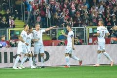 Polônia contra o 2:3 de Portugal Jogadores poloneses após ter marcado o objetivo por Krzysztof Piatek 23 imagens de stock