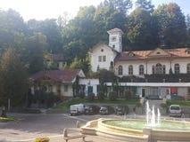 Polônia, Malopolska, cidade de Szczawnica - a construção velha dos termas fotos de stock royalty free
