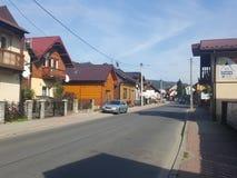 Polônia, Malopolska, Szczawnica - casas velhas imagens de stock