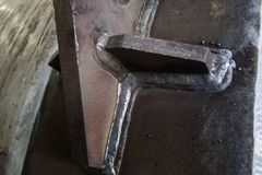 Polędwicowa spawka ciśnieniowego naczynia węgla stali tło fotografia stock