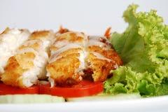 polędwicowi rybiego jedzenia warzywa biały Obraz Royalty Free
