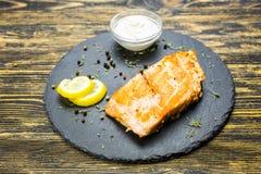 polędwicowa ryba piec na grillu Obrazy Stock