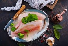 polędwicowy rybi surowy Zdjęcia Royalty Free