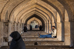 Pol-e Khaju bridge, across the Zayandeh River, in Isfahan, Iran Stock Images