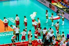 Polônia-Sérvia do jogo de abertura do campeonato mundial dos homens do voleibol, Varsóvia, o 30 de agosto de 2014 Foto de Stock Royalty Free