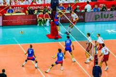 Polônia-Sérvia do jogo de abertura do campeonato mundial dos homens do voleibol, Varsóvia, o 30 de agosto de 2014 Fotos de Stock Royalty Free