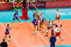 Polônia-Sérvia do jogo de abertura do campeonato mundial dos homens do voleibol, Varsóvia, o 30 de agosto de 2014 Fotos de Stock