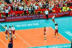 Polônia-Sérvia do jogo de abertura do campeonato mundial dos homens do voleibol, Varsóvia, o 30 de agosto de 2014 Foto de Stock