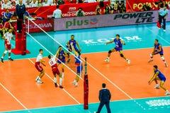 Polônia-Sérvia do jogo de abertura do campeonato mundial dos homens do voleibol, Varsóvia, o 30 de agosto de 2014 Imagens de Stock