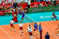 Polônia-Sérvia do jogo de abertura do campeonato mundial dos homens do voleibol, Varsóvia, o 30 de agosto de 2014 Fotografia de Stock