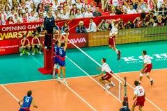 Polônia-Sérvia do jogo de abertura do campeonato mundial dos homens do voleibol, Varsóvia, o 30 de agosto de 2014 Imagem de Stock Royalty Free