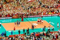 Polônia-Sérvia do jogo de abertura do campeonato mundial dos homens do voleibol, Varsóvia, o 30 de agosto de 2014 Imagens de Stock Royalty Free