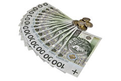 Polacco 100 banconote di zloty con le monete Immagini Stock Libere da Diritti