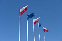 Polacco e bandierine dell'Ue sulla priorità bassa del cielo Fotografia Stock Libera da Diritti