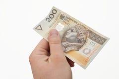 Polacco soldi in mano Immagine Stock Libera da Diritti