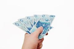 Polacco soldi in mano Immagine Stock