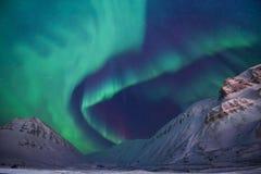 Polaire noordpool Noordelijke de hemelster van het lichtenaurora borealis in de reis Svalbard van Noorwegen in Longyearbyen-stad  royalty-vrije stock foto's