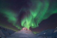 Polaire noordpool Noordelijke de hemelster van het lichtenaurora borealis in de reis Svalbard van Noorwegen in Longyearbyen-stad  stock foto