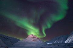 Polaire noordpool Noordelijke de hemelster van het lichtenaurora borealis in de reis Svalbard van Noorwegen in Longyearbyen-stad  royalty-vrije stock afbeeldingen