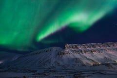 Polaire noordpool Noordelijke de hemelster van het lichtenaurora borealis in de reis Svalbard van Noorwegen in Longyearbyen-stad  royalty-vrije stock afbeelding