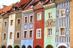 Poland. Poznan, Poland - city architecture. Greater Poland province (Wielkopolska). Colorful buildings at the main square (Rynek stock image