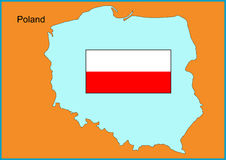 Poland. Vector map and flag of Europe country Poland Stock Photo