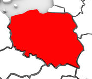 Poland Abstract 3D Map Northern Eastern Europe. An abstract 3d map of Europe and the northern and eastern region with Poland highlighted in red and surrounding Royalty Free Stock Photography