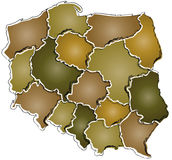 Poland administration map Stock Images