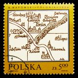Poland by Bernard Wapowski, 1526, Map of Poland serie, circa 1982. MOSCOW, RUSSIA - SEPTEMBER 15, 2018: A stamp printed in Poland shows Poland by Bernard royalty free stock photo