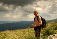 Poland.Bieszczady.Hiker on the trial summer.Horizontal Royalty Free Stock Images