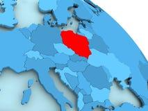 Poland on blue globe. Poland highlighted on blue 3D model of political globe. 3D illustration Stock Image