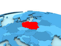 Poland on blue globe Stock Photos