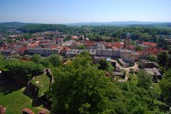 Poland Bolkow. Bolkow town in Dolny Slask, Poland seen from the Bolkow Castle known from Castle Party - most popular gothic music festival Royalty Free Stock Photo
