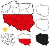Poland Borders, Province Borders - Layers ON/OFF. Set of layers containing Poland Border, Poland Province Borders, Poland Flag Fill Stock Photo