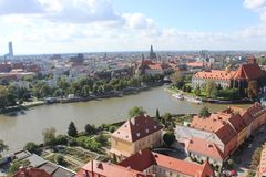 Poland Breslau Cathedral. View from cathedral of Breslau Wroclaw sightseeing and the beautiful river Donau royalty free stock photos