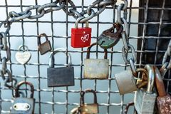 Poland, Bydgoszcz april 2018. The red padlock with white heart. Concept love forever - Valentine. royalty free stock photo