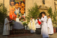 POLAND -  During the celebration the Feast of Corpus Christi (Body of Christ) Stock Photo