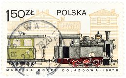 POLAND - CIRCA 1978 A postage stamp printed in Poland shows the old Polish train from 1907, circa 1978 Stock Photos