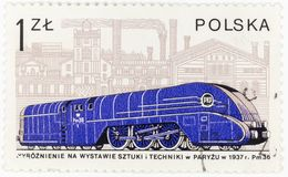 POLAND - CIRCA 1978 A postage stamp printed in Poland shows the old Polish locomotive Pm 36  from 1937, circa 1978 Royalty Free Stock Image