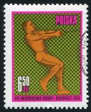 Hammer throw. POLAND - CIRCA 1966: stamp printed by Poland, shows Hammer throw, circa 1966 stock photos