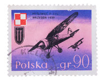 POLAND - CIRCA 1971: A stamp printed in  shows the Airplan Royalty Free Stock Photography
