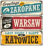 Poland cities and travel destinations. Retro metal plates set on old damaged background. Vintage  souvenir sign or postcard templates Royalty Free Stock Images