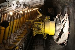 Longwall mining method. Poland coal mine interior - underground tunnel. Industry in Zabrze, Upper Silesia. Longwall mining method Royalty Free Stock Photo